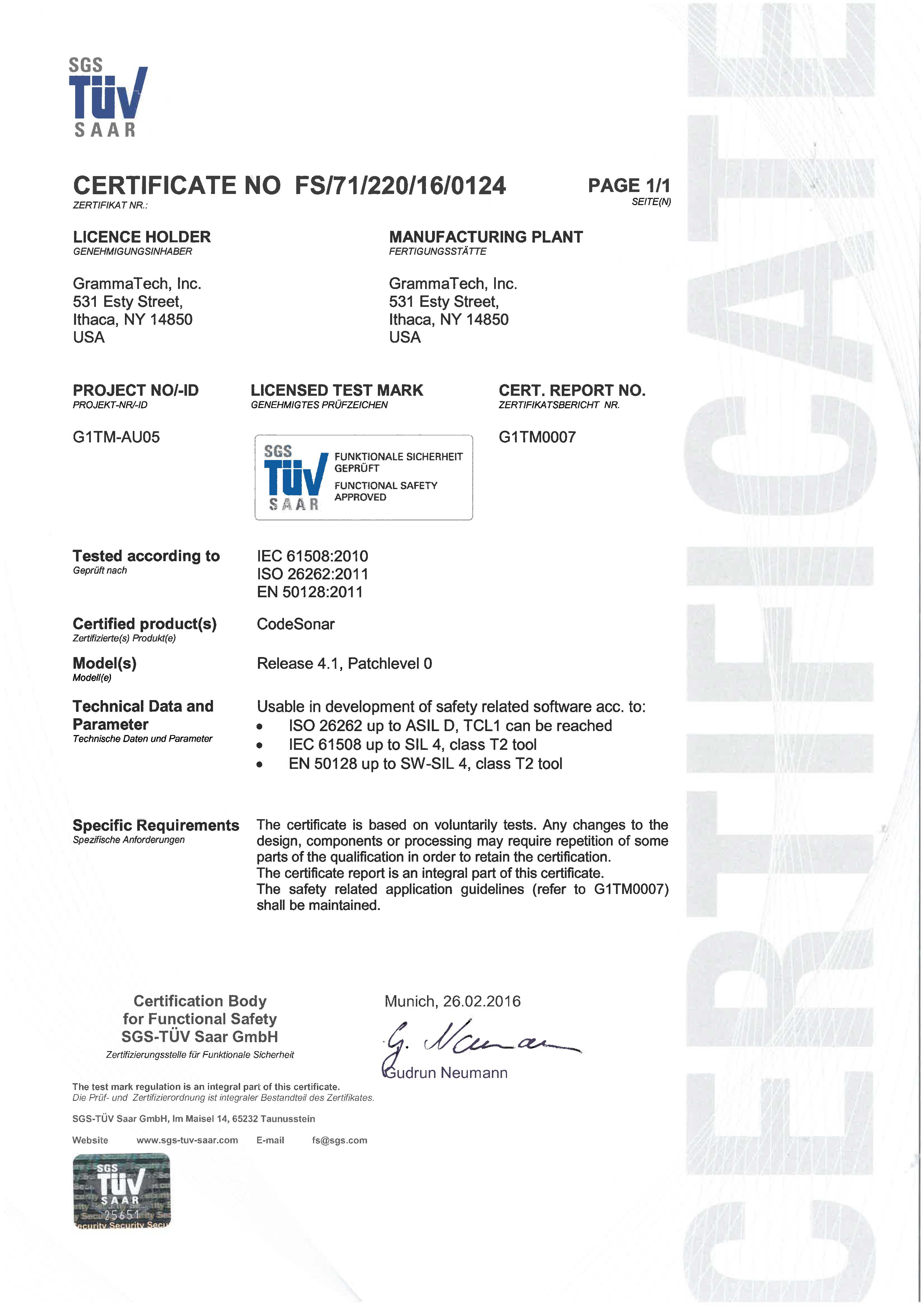 CodeSonar 4.1 Certified for Use in Developing Safety-Critical Software